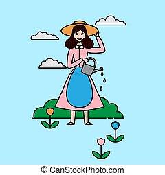mulher, jardinagem, esboço, character., aguando, experiência., pá, lata, agricultor, branca, agricultura, menina, jardineiro, feliz