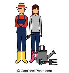 mulher, jardinagem, lata molhando, jardineiro, homem