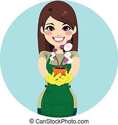 mulher, jardineiro