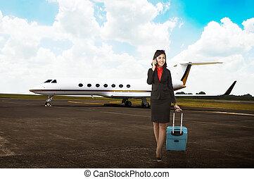 mulher, jato, curso negócio, privado, passeio, mala, avião
