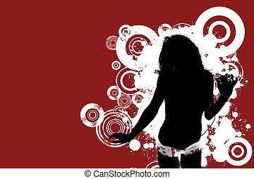 mulher, jogador, música, mp3, escutar, grungy