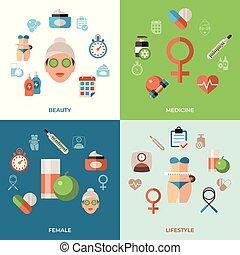 mulher, jogo, ícones, vetorial, saúde, digital