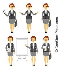 mulher, jogo, dela, negócio, dobrado, personagem, braços, ilustração, caricatura, peito, vetorial, vário, imagens, poses, senhora, através