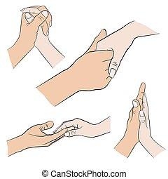 mulher, jogo, homem, mão