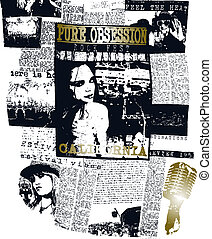 mulher, jornal, cartaz, arte pnf, desenho