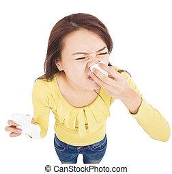 mulher jovem, é, espirrando, com, doloroso, rosto