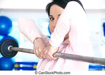 mulher, jovem, .a, weightlifting, ginásio