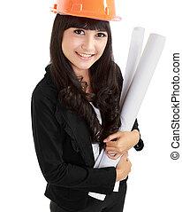 mulher jovem, arquiteta, com, azul, hardhat, e, projeto