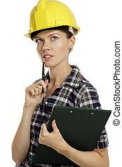 mulher jovem, arquiteta, com, capacete