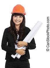 mulher jovem, arquiteta, com, laranja, hardhat, e, projeto