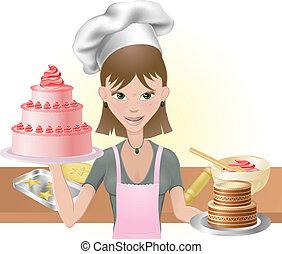 mulher jovem, assando, um, bolos, e, biscoitos