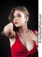 mulher, jovem, atraente, excitado, vestido, vermelho