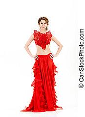 mulher, jovem, atraente, fundo, vestido branco, vermelho