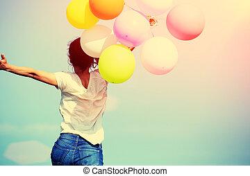 mulher, jovem, balões