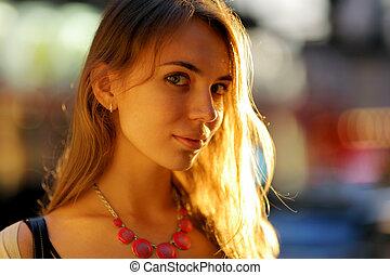 mulher, jovem, bonito
