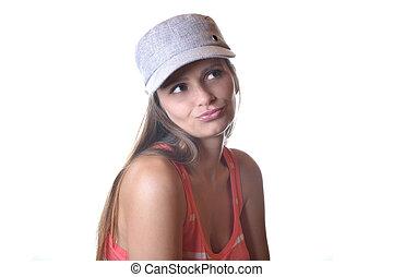 mulher jovem, bonito, estúdio