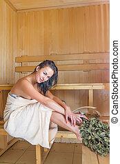 mulher, jovem, bonito, sauna