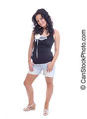 mulher, jovem, bonito, shorts