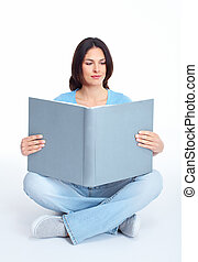 mulher, jovem, book.