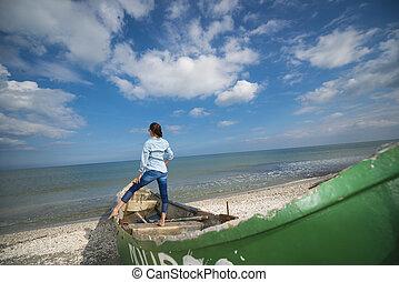 mulher, jovem, bote