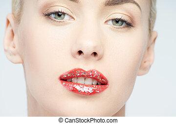 mulher, jovem, brilho, lábios, loiro, voga, brilhar