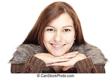 mulher, jovem, câmera, queixo, mãos, sorrir feliz