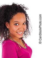 mulher, jovem, cabelo longo, americano, africano