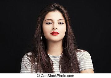 mulher, jovem, cabelo longo, pretas, atraente