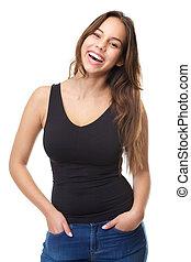 mulher, jovem, cabelo longo, rir, atraente