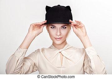 mulher, jovem, cat., gato, loura, retrato, excitado, chapéu
