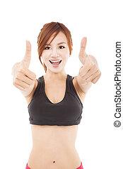 mulher, jovem, cima, polegares, condicão física, feliz