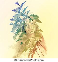 mulher jovem, com, abstratos, folhas