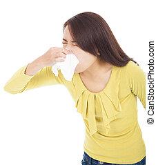 mulher jovem, com, alergia, ou, gelado