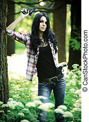 mulher jovem, com, armas
