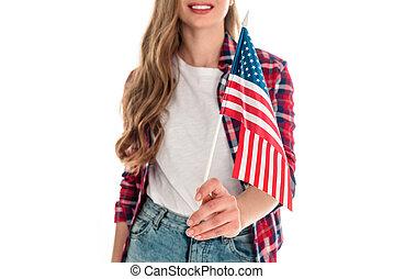 mulher jovem, com, bandeira americana