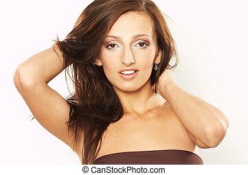 mulher jovem, com, cabelo windswept
