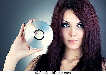 mulher jovem, com, cd