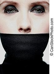mulher jovem, com, coberto, boca