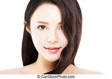 mulher jovem, com, dela, longo, e, saudável, cabelo