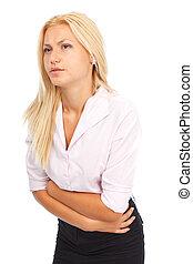 mulher jovem, com, dor abdominal