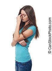 mulher jovem, com, dor de cabeça