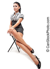 mulher jovem, com, excitado, pernas longas