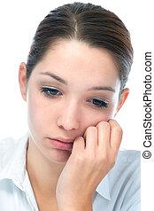mulher jovem, com, expressão triste
