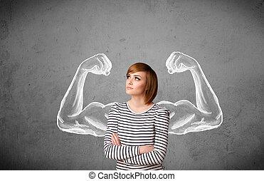 mulher jovem, com, forte, muscled, braços