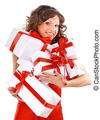 mulher jovem, com, gifts., tiro, em, studio.