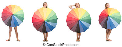 mulher jovem, com, guarda-chuva, isolado, branco