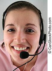 mulher jovem, com, headset