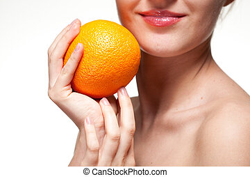 mulher jovem, com, laranja, isolado, branco