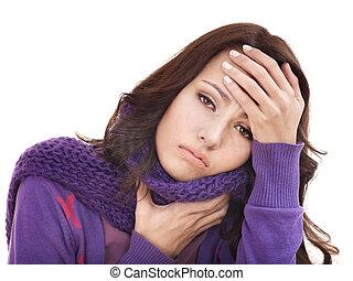 mulher jovem, com, lenço, tendo, cold.