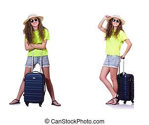 mulher jovem, com, mala, isolado, branco